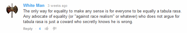 Youtube comment by White Man
