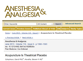 Acupuncture is Theatrical Placebo